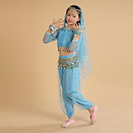 Belly Dance Outfits Training / Performance Polyester / Chiffon Coin / Tassel Long Sleeve Natural