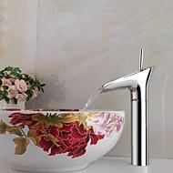 halpa -Nykyaikainen Pesuallas Keraaminen venttiili Yksi reikä Yksi kahva yksi reikä for  Kromi , Kylpyhuone Sink hana