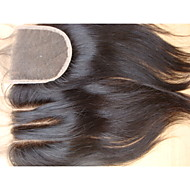 4x4 Virgin Brazilian Hair Closure Natural Straight 8inch 3 Part Human Hair Lace Closure 1Pc