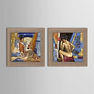 Oil Painting Modern Abstract Character Set of 2 Hand Painted Natural linen with Stretched Frame