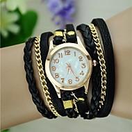 Kadın's Moda Saat Bilezik Saat Quartz örgülü Halat PU Bant Vintage Bohem Siyah Beyaz Mavi Kırmızı Kahverengi Yeşil Pembe Mor