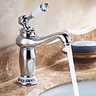 Nykyaikainen Integroitu Keraaminen venttiili Yksi reikä Yksi kahva yksi reikä for  Kromi , Kylpyhuone Sink hana