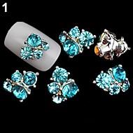 Blue Lovely/Wedding Finger/Toe Nail Jewelry/Glitter Metal 5PCS 4*3*1