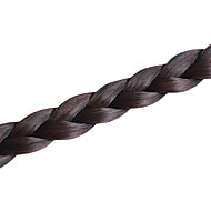 Dark Brown Handmade Clip In Hair Pieces Fishbone Braid Synthetic Hair Braid Bangs