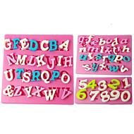 billige Bakeredskap-Four-C silikon cupcake muggsopp nummer fondant muggsopp, fondant dekorere verktøy leverer fargen rosa 3pcs / set