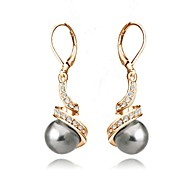 Dame Dråbeøreringe Enkelt design Krystal Imiteret Perle Guldbelagt Grå perle Sort perle Smykker Til Bryllup Fest Daglig Afslappet