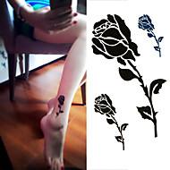 1 pc - Séries de fleur - Noir/Vert - Motif - 6*10.5cm (2.36*4.13in) - Tatouages Autocollants Homme/Femme/Adulte/Adolescent