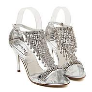 レディース 靴 レザーレット 夏 スリングバック Tストラップ スティレットヒール プラットフォーム 用途 ドレスシューズ シルバー