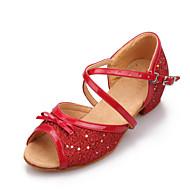 billige Sko til latindans-Dame Barn Latin Paljett Kunstlær Høye hæler Spenne Flat hæl Rød Rosa Sølv Blå Gull Kan ikke spesialtilpasses