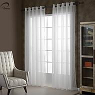 baratos Cortinas Transparentes-país curtains® um painel de linho marfim faux sólida cortina sheer