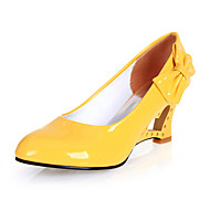 cheap Women's Heels-Women's Shoes Leatherette Spring Summer Novelty Wedge Heel Bowknot for Dress White Black Yellow Red