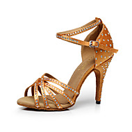 Chaussures de danse(Noir Bleu Jaune Rose Violet Rouge Blanc) -Personnalisables-Talon Personnalisé-Satin-Latines Salsa , bronze , us11 / eu43 / uk9 / cn44