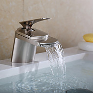 cheap Nickel Brushed Series-Bathroom Sink Faucet - Waterfall Nickel Brushed Centerset One Hole Single Handle One Hole