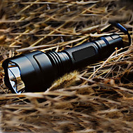 cheap -LED Flashlights / Torch LED 200lm 5 Mode with Battery and Charger Rechargeable / Tactical Camping / Hiking / Caving Black