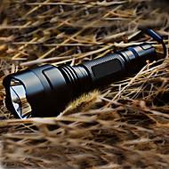 levne -LED svítilny LED 200lm 5 Režim osvětlení s baterií a nabíječkou Dobíjecí / Taktický Kempování a turistika Černá
