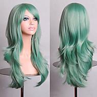 Sentetik Peruklar Bukle / Doğal Dalgalar Stil Asimetrik Saç Kesimi Bonesiz Peruk Yeşil Yeşil Sentetik Saç Kadın\'s Doğal saç çizgisi Yeşil Peruk Uzun Cosplay Peruk