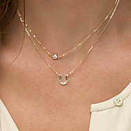 voordelige Sieraden-Dames Vorm Initial Jewelry Modieus Dubbele laag gelaagde Kettingen Gesimuleerde diamant Legering gelaagde Kettingen Speciale