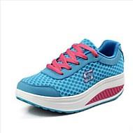 FemininoPlataforma Sapatos de Berço-Anabela Plataforma-Azul Vermelho Cinza-Tule Camursa Sintética-Escritório & Trabalho Casual Para