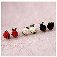 Brincos de pérolas de resina de flores de rosas femininas estilo feminino clássico