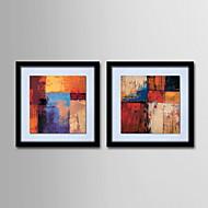 pintura a óleo decoração mão telas pintadas abstrato com esticada enquadrado - conjunto de 2