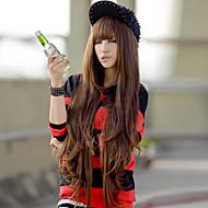 Sentetik Peruklar Dalgalı Stil Asimetrik Saç Kesimi Bonesiz Peruk Açık Kahverengi Kahverengi Sentetik Saç Kadın\'s Doğal saç çizgisi Açık Kahverengi Peruk Uzun Cosplay Peruk