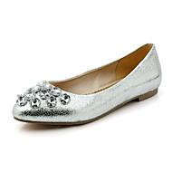 baratos Sapatos de Menina-Mulheres / Para Meninas Sapatos Courino Primavera / Verão / Outono Rasos Sem Salto Laço Prateado / Dourado