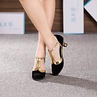 """billige Moderne sko-Dame Moderne Ballett Semsket lær Høye hæler Blondesøm Kubansk hæl Sort og Gull Brun Kongeblå 2 """"- 2 3/4"""" Kan ikke spesialtilpasses"""