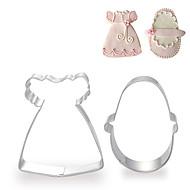 billige Kjeksverktøy-2 stk sett med baby girl kjole og sko form cookie stanser frukt kuttet muggsopp i rustfritt stål