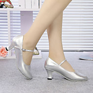 billige Moderne sko-Dame Barne Moderne Glimtende Glitter Syntetisk Høye hæler Innendørs Profesjonell Trening Spenne Kubansk hæl Burgunder Svart Sølv Gull