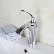 halpa -Nykyaikainen Art Deco/Retro Moderni Integroitu Vesiputous Keraaminen venttiili Yksi reikä Yksi kahva yksi reikä Kromi , Kylpyhuone Sink