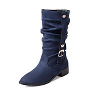 Bootsit-Matala korko-Naiset-Fleece-Musta Beesi Ruskea Punainen Sininen-Toimisto Rento Urheilu-Comfort