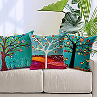"Set of 3 18"" Cotton Linen Color Tree Print Pillow Bed Sofa Home Decorative Cushion"