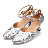 billige Moderne sko-Dame Moderne Paljett Kunstlær Høye hæler Trening Nybegynner Profesjonell Innendørs Spenne Kubansk hæl Rød Sølv Blå Gull Fuksia 5,5 cm Kan