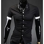 رجالي قميص ياقة مع زر سفلي - كاجوال لون سادة أبيض L / كم قصير / الصيف