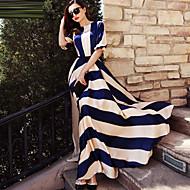 Damen Festtage Elegant Swing Kleid - Druck, Gestreift Maxi Blau & Weiß
