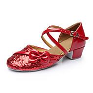 billige Moderne sko-Dame Sko til latindans Paljett Sandaler Sløyfe Kustomisert hæl Kan spesialtilpasses Dansesko Rød / Rosa / Gylden / Innendørs