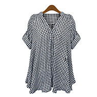 Veći konfekcijski brojevi Majica Žene Dnevno Vikend Karirani uzorak Duboki V Širok kroj