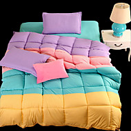 Yuxin®Spring Quilt Core Four Spell Color Thick Super Soft Feather Velvet Winter Quilt   For King/Queen/ Full  Size