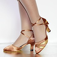 billige Moderne sko-Dame Moderne Kunstlær Sateng Høye hæler Sandaler Innendørs Nybegynner Paljett Spenne Snøring Kustomisert hæl Bronse Burgunder Svart Kan