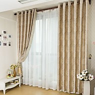 "cheap -Custom Made Blackout Blackout Curtains Drapes Two Panels 2*(72W×63""L) Beige / Jacquard / Living Room"