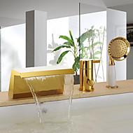 アンティーク調 バスタブとシャワー 滝状吐水タイプ ハンドシャワーは含まれている with  セラミックバルブ シングルハンドル三穴 for  Ti-PVD , 浴槽用水栓