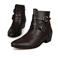 cheap Men's Boots-Men's Shoes Leatherette Fall / Winter Comfort Boots 10.16-15.24cm / Booties / Ankle Boots White / Black / Brown / Party & Evening