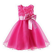 cheap -Toddler Girls' Sweet / Princess Party Floral Bow / Layered Sleeveless Dress Pink