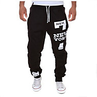 cheap -Men's Active / Basic Cotton Loose Sweatpants Pants - Letter Black / Red / Sports / Drawstring / Weekend