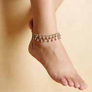 ファッションの女性ビーチヨガダンスは、合金タッセルをダブルチェーンアンクレット低下します