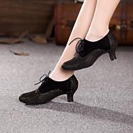 billige Moderne sko-Moderne Semsket lær Høye hæler Tvinning Kustomisert hæl Svart og Sølv Blå Rosa Svart/Rød Kakifarget Kan spesialtilpasses