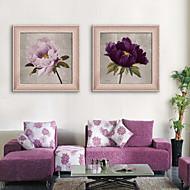billige Innrammet kunst-Innrammet Lerret Innrammet Sett Still Life Blomstret/Botanisk Vintage Veggkunst, PVC Materiale med ramme Hjem Dekor Rammekunst Stue