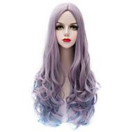 Kobieta Peruki syntetyczne Tkany maszynowo Bardzo długo Wodne fale Purple Halloween Wig Karnawałowa Wig Costume Peruki