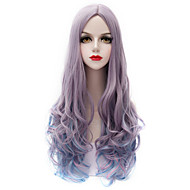 Vogue Gray Blue Wig Long Curl Wavy Hair Harajuku Purecas Lolita Fashion Party Women Girl Synthetic Wig