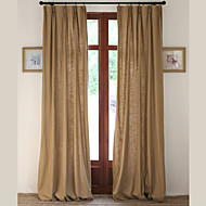 Rod Pocket Grommet Top Tab Top Double Pleated Two Panels Curtain Country Modern Neoclassical European Designer , Solid Living Room Linen